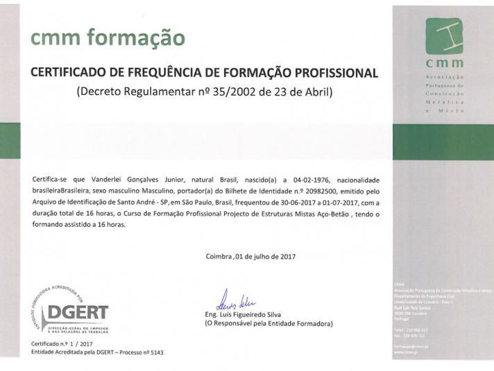 Certificado CMM formação de 30-06-2017 a 01-07-2017